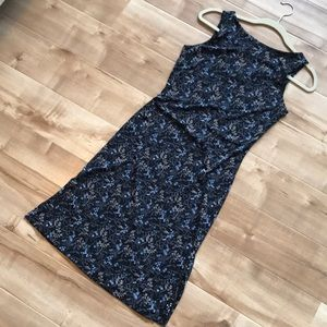 Navy Floral Sheath Dress